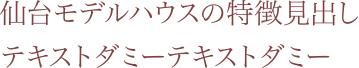 仙台モデルハウスの特徴見出し